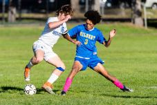 Housatonic Valley's Luke Mollica (16), left, puts a move on Gilbert's Max Cruz (3) in the box which led to a goal, during a Boys BL soccer game between Housatonic Valley Regional and Gilbert at Walker Field in Winsted on Wednesday. Bill Shettle Republican-American