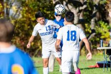 Housatonic Valley's Henry Lopez-Gonzalez (13) heads the ball, during a Boys BL soccer game between Housatonic Valley Regional and Gilbert at Walker Field in Winsted on Wednesday. Bill Shettle Republican-American