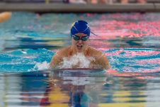 Anna Mrozik practices her breast stroke, during swim practice at Seymour High School on Thursday. Bill Shettle Republican-American