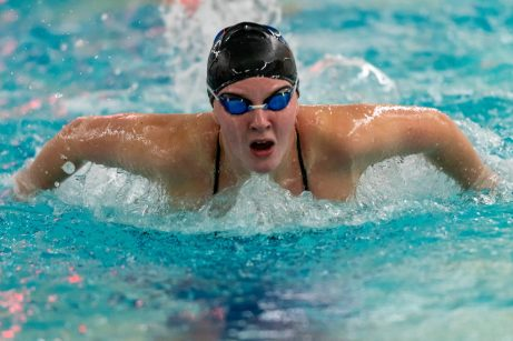 McKenna Haynes practices her butterfly stroke, during swim practice at Seymour High School on Thursday. Bill Shettle Republican-American