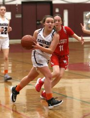 Torrington High School's Brianna Murelli looks for an open teammate as she drives to the basket in front of Wolcott High School's Amanda Sullivan during the girls varsity basketball game on Thursday night, Feb. 13, 2020. Emily J. Tilley. Republican-American