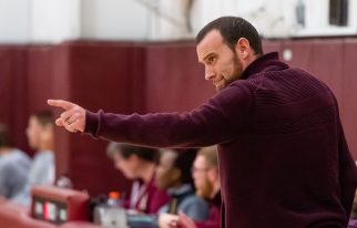 Naugatuck head coach Michael Wilson calls out to his players during their key NVL match-up with Sacred Heart Friday at Alumni Hall at Sacred Heart High School. Jim Shannon Republican-American