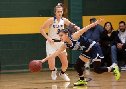 #14 Krystalee Fernandez of Ansonia High controls the loose ball as #3 Alyssa Johnson of Seymour High defends during the NVL Girls Basketball Tournament in Waterbury Saturday. Steven Valenti Republican-American
