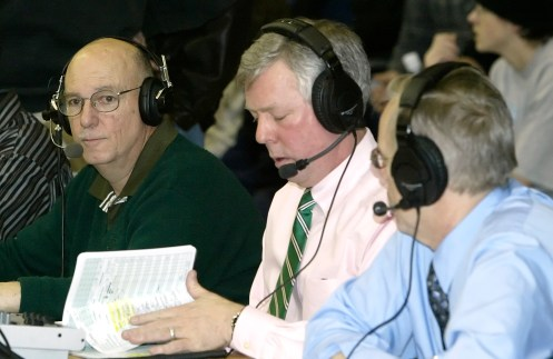 From left- Gordie Woods, statistician and technical support; Bob Sagendorf, sports director; and Steve Gesseck (CQ), color commentator; for WATR sports radio on the sidelines at the Division II state basketball championships Saturday afternoon. Jamison C. Bazinet Republican-American