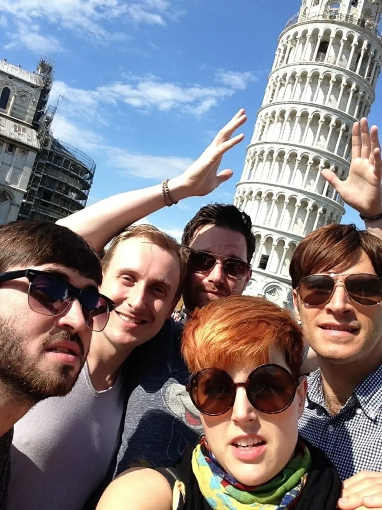 The Zoots, The Zoots in Italy, The leaning Tower of Pisa, Pisa in June, Band in Pisa, The Zoots visit Pisa, Photo of leaning Tower of Pisa in the sun