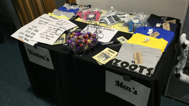 The Zoots merchandise stall, the zoots t shirts