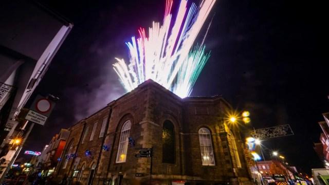 Fireworks at Salisbury Xmas lights switch on