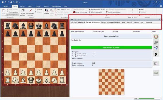 Chessbase novedades pestañas