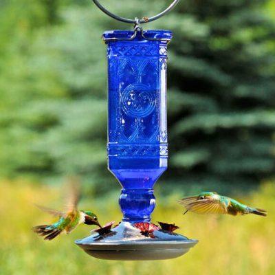 Blue Antique Bottle - Hummingbird Feeder