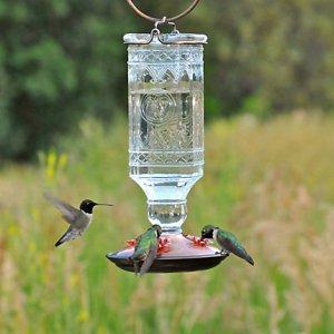 Perky-Pet® Clear Antique Bottle Glass Hummingbird Feeder 24oz