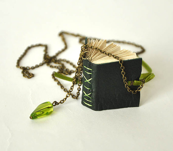 Green Mini-Book Necklace from Papirell