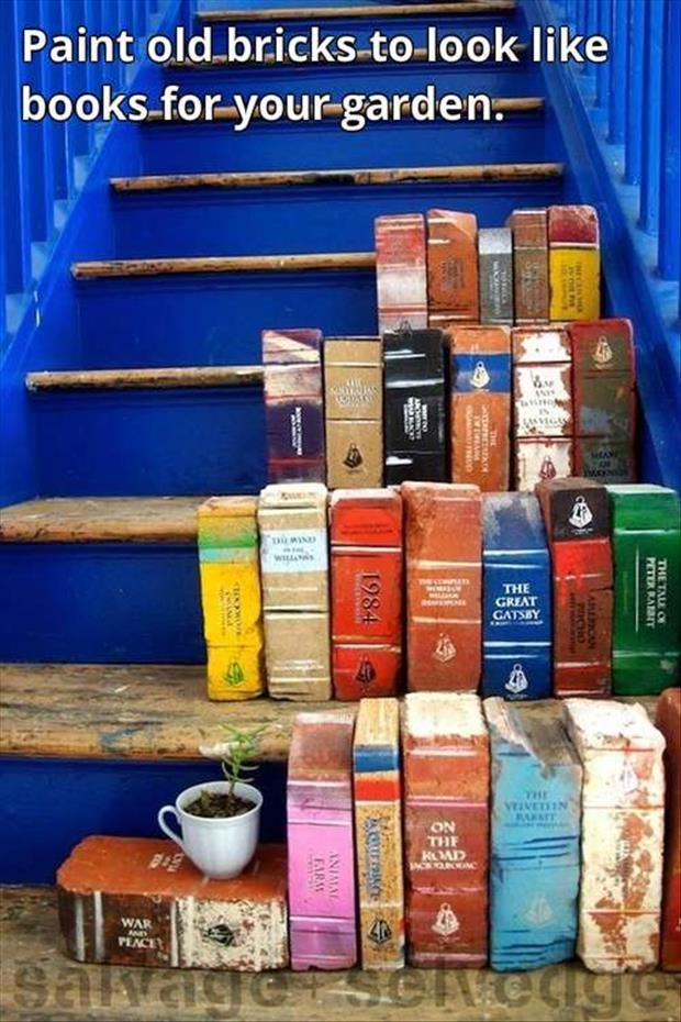 Paint Old Bricks to Look Like Books