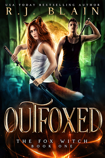 Cover for OUTFOXED, the first book in the adult paranormal romance/urban fantasy series, The Fox Witch, by USA Today bestselling author, R.J. Blain, releasing November 3, 2020