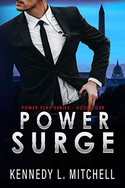 Cover to POWER SURGE, the fourth book in her adult romantic suspense/political romance series, Power Play, releasing June 22, 2020