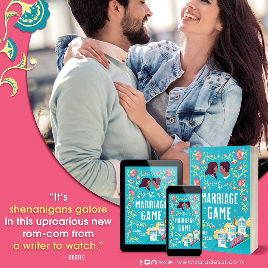 Teaser from THE MARRIAGE GAME, a stand-alone adult contemporary romance, by Sara Desai, One of Oprah Magazine's Most Anticipated Romances of 2020