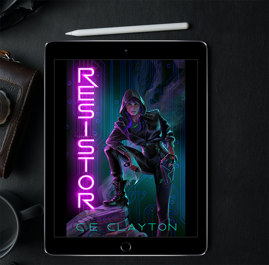 RESISTOR, the first book in the new adult cyberpunk fantasy series, Ellinor, part of the broader Eerden series, by C.E. Clayton