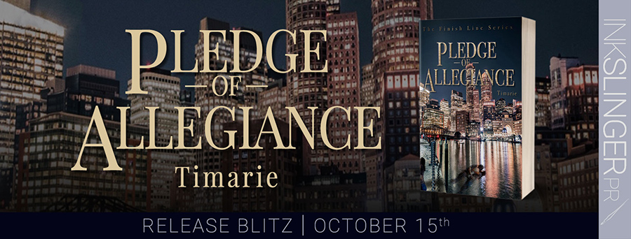Today is release day for PLEDGE OF ALLEGIANCE, the first book in the adult romantic suspense series, The Finish Line, by Timarie