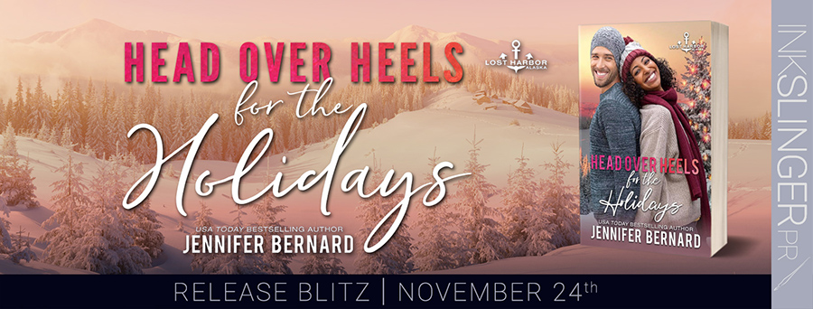 Today is release day for for HEAD OVER HEELS FOR THE HOLIDAYS, the seventh book in the adult contemporary romance series, Lost Harbor, Alaska, by USA Today bestselling author, Jennifer Bernard