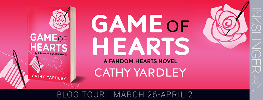 Welcome to the blog tour for GAME OF HEARTS, the third book in the new adult contemporary romantic comedy series, Fandom Hearts, by Cathy Yardley