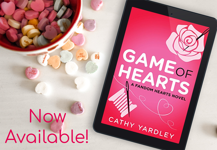 GAME OF HEARTS, the third book in the new adult contemporary romantic comedy series, Fandom Hearts, by Cathy Yardley is now available!