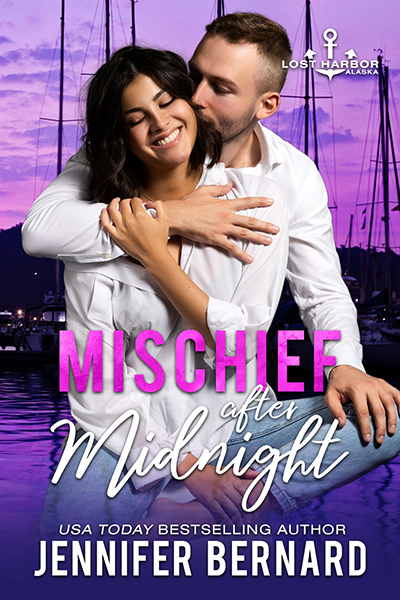 MISCHIEF AFTER MIDNIGHT, the ninth book in the adult contemporary romance series, Lost Harbor, Alaska, by USA Todaybestselling author, Jennifer Bernard