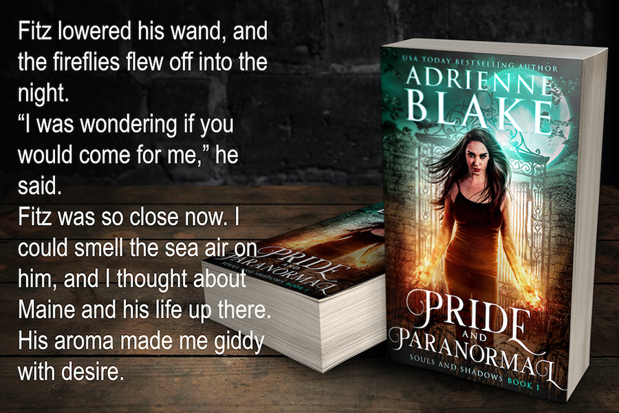 Teaser from PRIDE AND PARANORMAL, the first book in the adult paranormal romance series, Souls and Shadows, by USA Today bestselling author Adrienne Blake