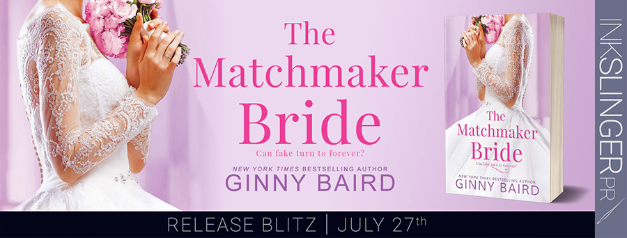 Today is release day for THE MATCHMAKER BRIDE, the second stand-alone book in the adult contemporary romance series, Blue Hill Brides, by New York Times and USA Today bestselling author, Ginny Baird
