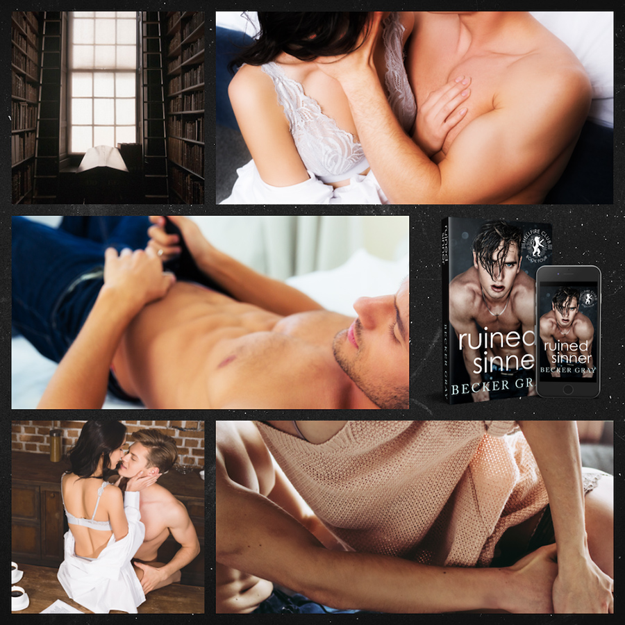Mood board for RUINED SINNER, the fourth book in the new adult contemporary romance series, Hellfire Club, by Becker Gray