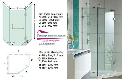 phòng tắm kính 135 Phụ kiện phòng tắm kính mở 135 độ mo hinh vach tam kinh 135 do