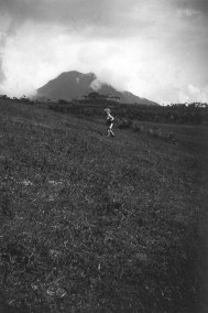 My father in front of Mount Marapi.