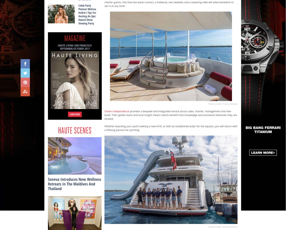Motor Yacht Avalon Featured into Haute Living Magazine
