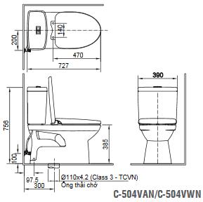 bản vẽ giá bồn cầu Inax C504
