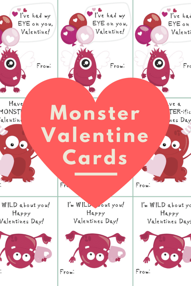 Happy Valentine's Day! Here are some cute monster Valentine's Day Cards for your kids to give to friends and loved ones. Hope you enjoy!