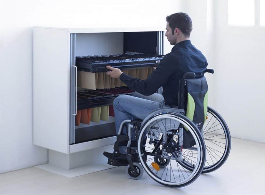 Disabled employee at work