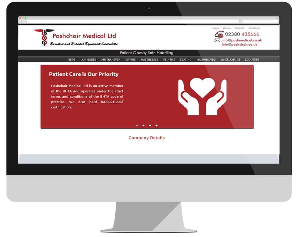 Poshchair Medical acquisition by DHG. Homepage pic of Poshchair website