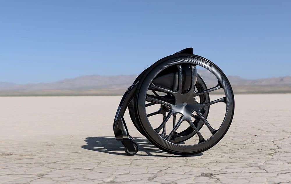 Phoenix AI wheelchair sideways view in desert