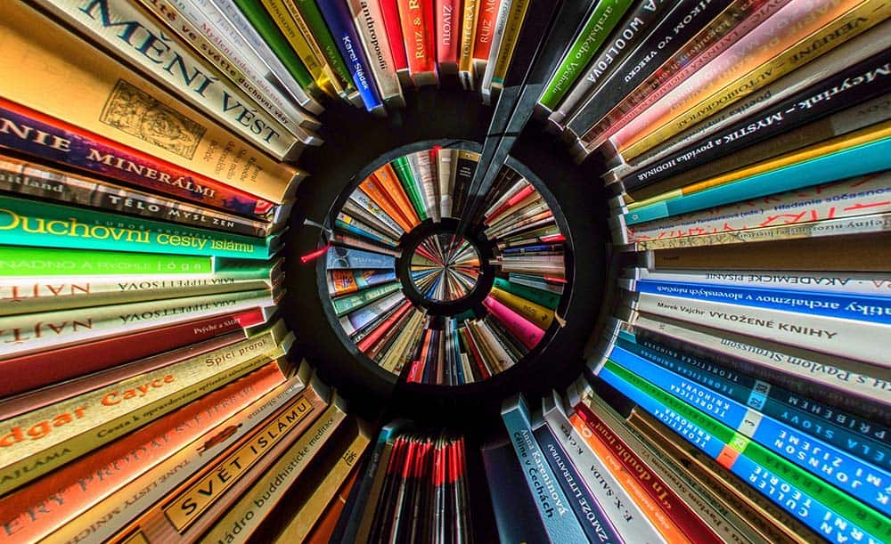 Injecting colour via a collection of colourful books