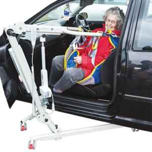 Ardoo Portable Hoist Woman in Car using Hoist for THIIS Retailers Guide to Naidex