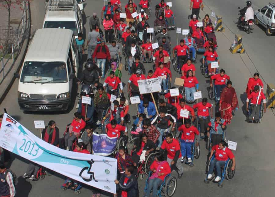 Celebrations in Katmandhu for 2013's International Wheelchair Day