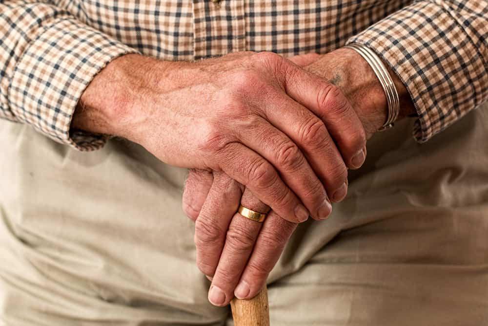 Elderly person's hands image