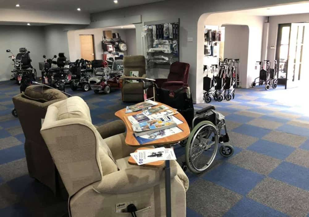 Mobility Scooters UK The Mobility Shop Ferndown Showrrom with specialist seating and wheelchairs
