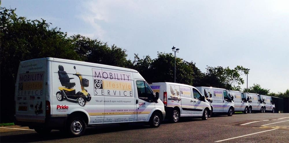Mobility & Lifestyle vans in a line
