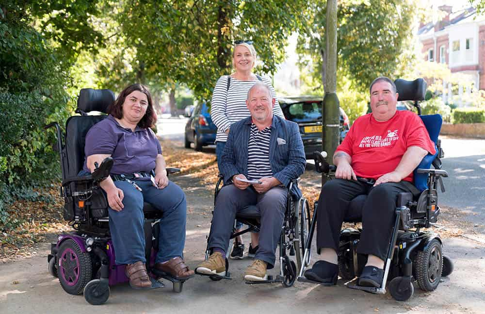 29S L-R Supported living resident Kay Torres, Councillors Iain Dobie and Klara Sudbury, Dave Evans