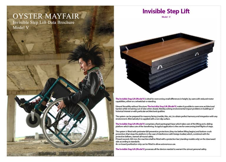 oyster mayfair step lift new brochure