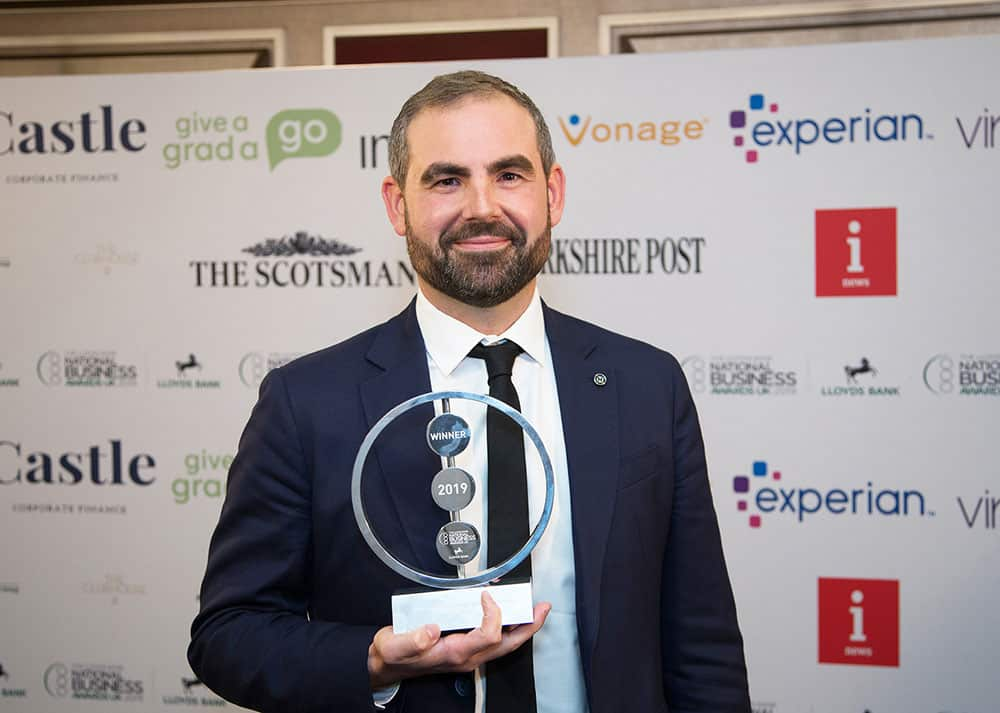 Lachlan Faulkner, Stiltz Co-Founder and Chief Commercial Officer with the 2019 Lloyds Bank Exporter of the Year Award.