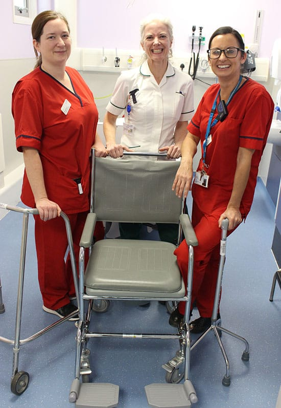 Ann Drea (centre) with OT Katy Daoud (left) and Clinical Lead Nicola Tatham (right)