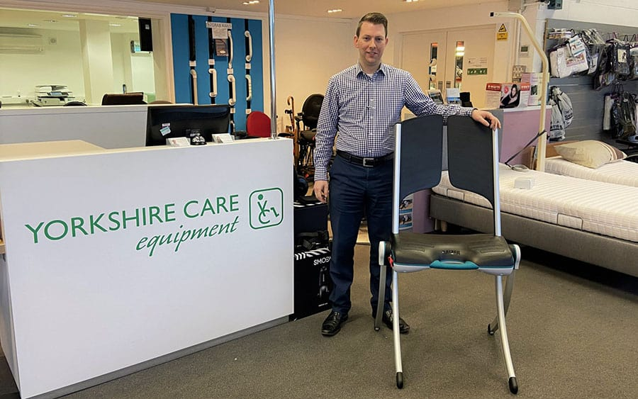 Yorkshire Care Equipment's George Hulbert with new Raizer II