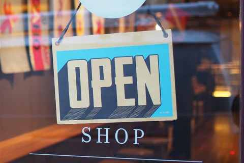 open shop sign window