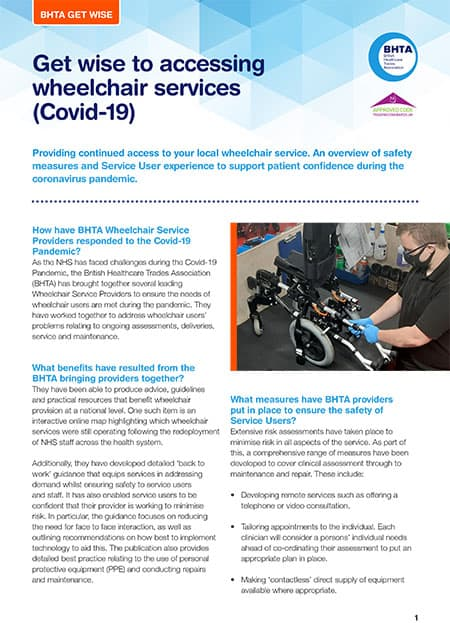 BHTA Get Wise to Accessing Wheelchair Services guide image