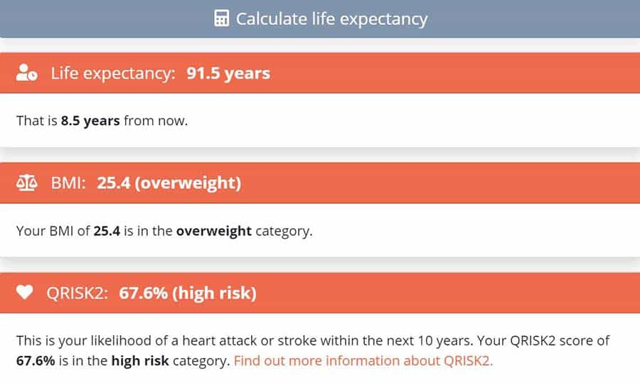 life expectancy calculator UEA